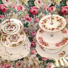 3 tier vintage china cake stands.