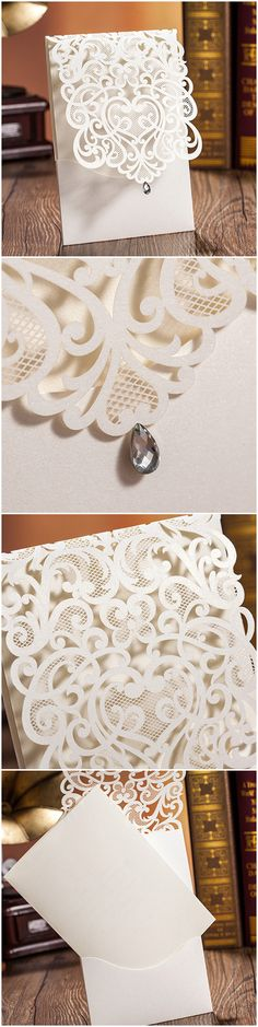 elegant shimmery pocket laser cut wedding invitations 2015 trends