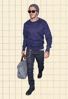 David Beckham In Blue Sweatshirt And Beanie At LAX Airport
