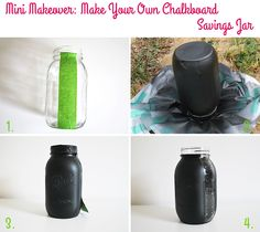 Mini Makeover: Make Your Own Chalkboard Savings Jar (step by step) on Style for a Happy Home