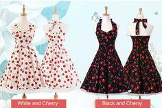 Women Vintage 50s Rockabilly Audrey Hepburn Cherry Printed Retro Halter Dress
