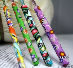 Polymer clay covered crochet hook set of 4 by rivervalleydesign, $30.95