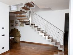Scale Interne a Giorno - Elite Strike Inox Wood - Alfa Scale Steel Stairs, My Dream Home, Building A House, Stainless Steel, Rome, Interior Design, Design Ideas, Home Decor, Stair Handrail