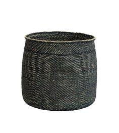 HK-living Mand Iringa zwart naturel milulu grass ±33x33x31cm - wonenmetlef.nl