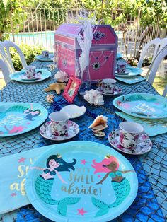 Mermaid tea party with shells and treasure box for decor. Travelingtea.org Mobile tea parties