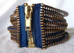 Blue and Gold Zipper Strand Bracelet by KariMcMurphy on Etsy, $20.00