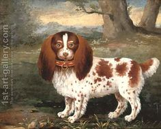 A spaniel in a landscape by George Stubbs
