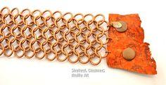 Orange Barra Cuff.  A heavy metal copper chain by ShelleyLChalmers
