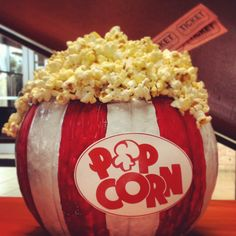 Pumpkin Decorating Contest idea- Popcorn theme. Rules: no carving, family friendly. Paint red and white stripes on pumpkin, pop plain popcorn, hot glue popcorn to top, print sign and hot glue to front, hot glue movie tickets