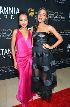 Kerry Washington Photos Photos - (L-R) Actresses Kerry Washington and Naomie Harris arrive at the 2012 BAFTA Los Angeles Britannia Awards Presented By BBC AMERICA at The Beverly Hilton Hotel on November 7, 2012 in Beverly Hills, California. - 2012 BAFTA Los Angeles Britannia Awards Presented By BBC AMERICA - Red Carpet