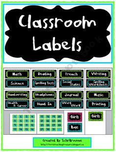 Free classroom labels/signs: lime green, turquoise, black!