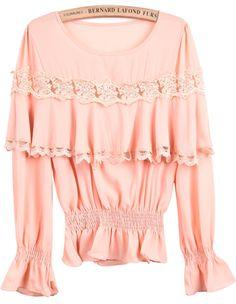 Orange Long Sleeve Contrast Lace Ruffle Chiffon Blouse - Sheinside.com