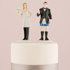 "Personalized ""Who Wears The Pants"" Bride and Groom Funny Wedding Cake Topper."