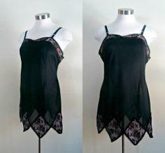 Vintage 1960s Full Mini Slip Black Nylon and by rileybellavintage, $24.00