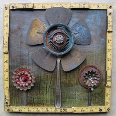 Flower Collage Junktion Alley - garden art/junk using fan blades, faucet handles, cutlery, and Metal Yard Art, Metal Tree Wall Art, Scrap Metal Art, Found Object Art, Found Art, Decoration Palette, Art Texture, Flower Collage, Welding Art
