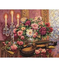 Adaptable Rose Piano Style; In purple Still Life Style Cross Stitch Kits 14ct White 11ct Print Embroidery Diy Handmade Needlework Wall Home Decor Fashionable