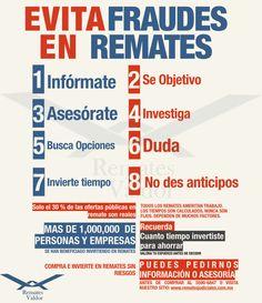 Infográfico para evitar fraudes en Remates Judiciales y Bancarios en México