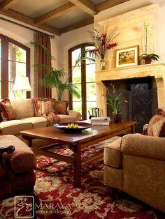 The rug Montecito Italian Living Room - mediterranean - living room - santa barbara - Maraya Interior Design Tuscan Living Rooms, Italian Living Room, Cottage Living, Living Room Colors, Living Room Designs, Living Room Decor, Bedroom Decor, Dining Room, Bedroom Furniture