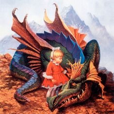 "The Gap Dragon (Stanley Steamer) and Princess Ivy. From Piers Anthony Xanth Novels called ""Dragon on a Pedestal"" 1983, Del Rey Books"