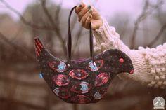 Bird shaped handbag from reclaimed wool sweater.