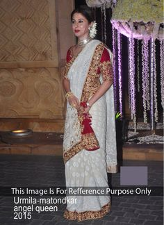 Urmila Matondkar Off White and Red Embroidered Designer Bridal Sarees
