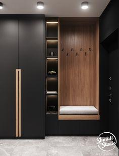 decoration ideas for pooja Project Contrasts Wardrobe Room, Wardrobe Design Bedroom, Bedroom Furniture Design, Closet Bedroom, Wardrobe Interior Design, Entry Closet, Luxury Bedroom Design, Hallway Furniture, Bedroom Small