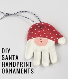 DIY Santa Handprint Salt Dough Baby Ornaments    Momma Society-The Community of Modern Moms   www.MommaSociety.com