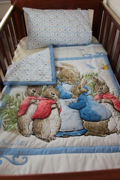 Quilt Baby Beatrix Potter Blue Peter Rabbit & by MumsMagicStitches, $98.00