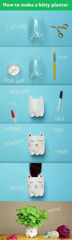 DIY Beat summer holiday boredom and transform a plastic bottle into a cute kitty planter. Just add seeds or a potted plant and the kids can watch it grow – a purrrfect activity for rainy days. Plastic Bottle Crafts, Plastic Bottles, Recycled Bottles, Diy And Crafts, Crafts For Kids, Paint Marker Pen, Diy Recycle, Reuse, Handmade Home Decor