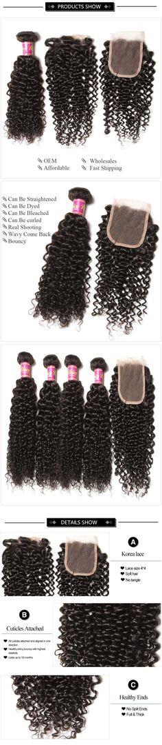 UNice 4 Bundles Brazilian Virgin Curly Hair With Lace Closure | UNice