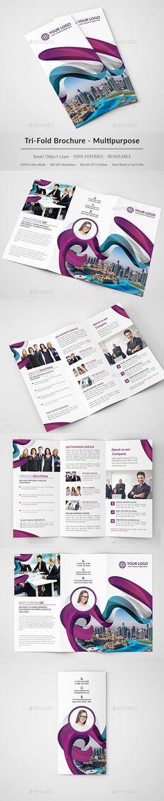 Multipurpose Business Trifold Brochure  — PSD Template #brochure #us letter…