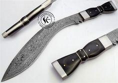Damascus Steel Machete Bowie Hunting Knife