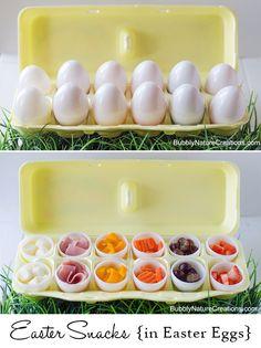 Snacks in egg carton. Easter themed food for kids