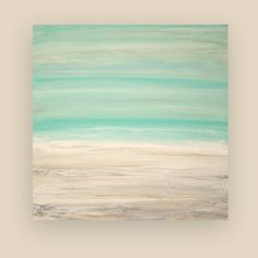 "Painting Acrylic Abstract Art on Canvas Beach Shabby Chic Titled: THE BEACH 30x30x1.5"" by Ora Birenbaum"