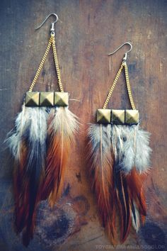 Pyramid Feather Earrings
