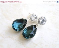 35% Off Sale Earrings Montana Navy Blue Teardrop by SomsStudio