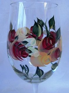 Hand+painted+wine+glasswine+glassroses+by+Morningglories1+on+Etsy,+$20.00