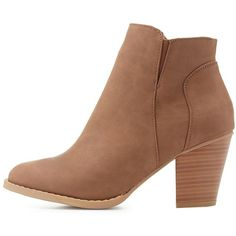 Charlotte Russe Faux Leather Ankle Booties ($36) ❤ liked on Polyvore featuring shoes, boots, ankle booties, taupe, chunky-heel boots, zipper boots, vegan booties, taupe ankle booties and zipper booties