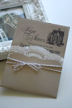 Slide invite into a pocket & tie with baker's twine