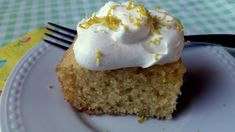 This lemon cake has a real citrusy punch to it. Add a dollop of whipped cream with a little lemon zest and you will have yourself an awesome dessert! 1/2 cup butter, softened 3/4 cup sugar 4 large egg