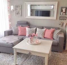 pink gray living room - Google Search