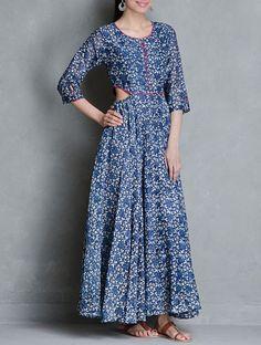Indigo Block Printed Elasticated Waist Flare Cotton Dress by Raiman Sethi Indian Attire, Indian Wear, Indian Style, Indian Dresses, Indian Outfits, Ethnic Fashion, Indian Fashion, Indian Couture, Western Outfits