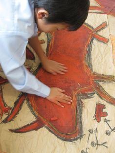 "Cave painting and ""contemporary cave painting"" art and history lesson. Murals in groups of 5."