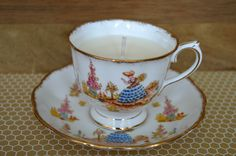 Reserved for JP - Upcycled Teacup Candle - Royal Albert 'Dainty Dinah' - pinned by pin4etsy.com
