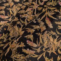 "Famous NYC Designer Black/Gold Floral Silk Chiffon Fabric by the Yard | Mood Fabrics 15.99 yard  45"" wide"