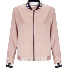 Miss Selfridge PETITE Pink Bomber Jacket ($61) ❤ liked on Polyvore featuring outerwear, jackets, petite, pink, striped jacket, miss selfridge, stripe jacket, flight jackets and pink bomber jacket