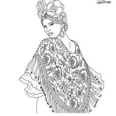 ethnic coloring pages | Beautiful ethnic lady coloring page | Beautiful Women ...