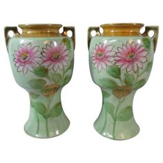 Check out this item at One Kings Lane! Nippon Floral Vases, Pair