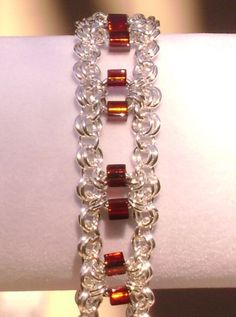 Silver Chainmaille Chain Maille Bracelet with Deep Red Square Faceted Crystals