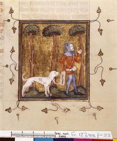The Book of Modus and Ratio (BNF Fr. 12399), 1379: Hunting a boar (fol. 23)  http://visualiseur.bnf.fr/ConsulterElementNum?O=IFN-07802660&E=JPEG&Deb=1&Fin=1&Param=C